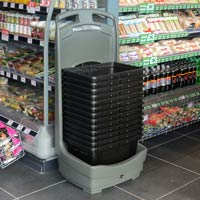 Mobile Basket Buddy™ Storage Unit in convenience store